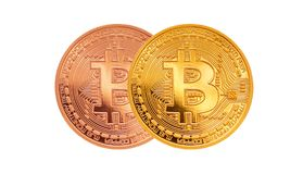 Bitcoin - beetjemuntstuk BTC de nieuwe crypto munt Royalty-vrije Stock Fotografie