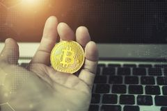 Bitcoin begrepp Guld- för medelbärbar dator för bitcoin förestående wi för dator Arkivbilder