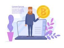 Bitcoin begrepp Online-förtjänster Lönvektor cartoon Isolerad konst på vit bakgrund plant royaltyfri illustrationer
