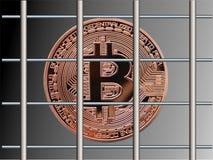 Bitcoin behind bars. Bitcoin locked up behind bars stock illustration