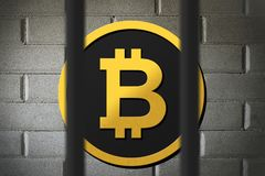 Bitcoin being banned and restricted by law royalty free stock photo