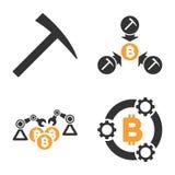 Bitcoin-Bergbau-Pool-Vektor-Ikonen-Satz Lizenzfreies Stockfoto