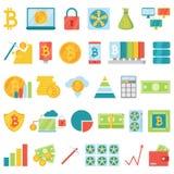 Bitcoin-Bergbaugeldikonenvektor biss virtuelles Schlüssel-currence blockchain Finanzinternet-Geschäft cryptocurrency Münzen Stockfotos