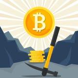 Bitcoin-Bergbaukonzept Einkommen cryptocurrency im Computer mit Internet Lizenzfreie Stockfotos