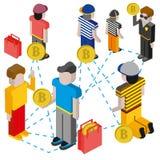 Bitcoin-Bergbaukonzept mit Hacke, Charakter des jungen Mannes, Münze und Gebirgsdiagramm Lizenzfreies Stockfoto