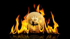 Bitcoin - bit coin BTC cryptocurrency money burning in flames on stock image
