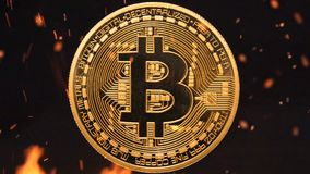 Bitcoin - bit coin BTC crypto currency money burning stock footage