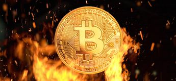 Bitcoin - bit coin BTC crypto currency money burning. Bitcoin - bit coin BTC cryptocurrency money burning in flames and fire sparkles Royalty Free Stock Images