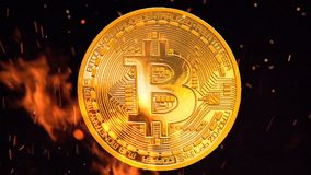 Bitcoin - bit coin BTC the new crypto currency stock video footage