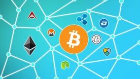 Bitcoin blåttbakgrund, Cryptocurrency Blockchain nätverk Arkivfoto