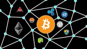 Bitcoin Black Background, Cryptocurrency Blockchain Network. Cryptocurrency concept background show network of coins, various connectings through blockchain Stock Photos