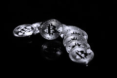 Bitcoin on a black background Stock Photography