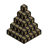 Bitcoin. Black Large Bitcoin Pyramid. Isometric Pyramid consisting of Cubes with Golden Bitcoin Sign on the Sides. Isolated Cubic Figure on White background Royalty Free Stock Photo