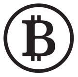 Bitcoin blanco y negro El icono para el dinero de Internet Fotografía de archivo