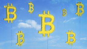 Bitcoin-Blasenrisiko des Gehens gesprengt stockbild