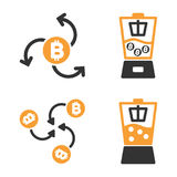 Bitcoin Blender Vector Icon Set. Style is bicolor flat symbols Stock Photography