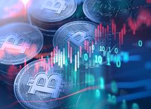 3d rendering of Bitcoin on financial graph background. Bitcoin and Block chain network  concept on financial graph background 3d illustration Stock Image