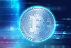 3d rendering of Bitcoin on financial graph background. Bitcoin and Block chain network  concept on financial graph background 3d illustration Stock Photos