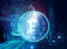 3d rendering of Bitcoin on financial graph background. Bitcoin and Block chain network  concept on financial graph background 3d illustration Stock Photo