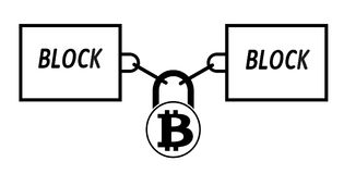 Bitcoin block chain technology icon,vector disign,disign concept on a white background. Interlocking the blocks with each other using the lock code Royalty Free Stock Image