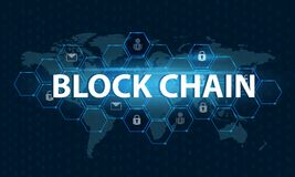 Bitcoin block chain World map security system Digital currency Financial business in the online world. Bitcoin block chain World map security system Digital Stock Photography