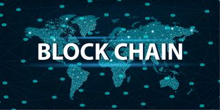 Bitcoin block chain World map security system Digital currency Financial business in the online world. Bitcoin block chain World map security system Digital Stock Image