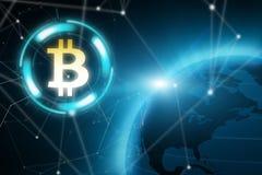 Bitcoin blockchain fotografering för bildbyråer