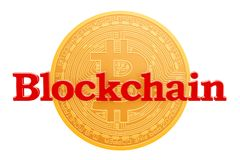 Bitcoin, blockchain concept het 3d teruggeven Stock Afbeeldingen