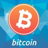 Bitcoin blockchain criptocurrency桔子商标 免版税库存照片