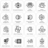 Bitcoin and Blockchain Crypto Protection Technology Icons. Modern computer network technology sign set. Digital graphic symbol collection. Bitcoin Payment and Royalty Free Stock Image