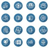 Bitcoin and Blockchain Crypto Protection Technology Icons. Modern computer network technology sign set. Digital graphic symbol collection. Bitcoin Payment and Stock Images