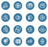 Bitcoin and Blockchain Crypto Protection Technology Icons. Modern computer network technology sign set. Digital graphic symbol collection. Bitcoin Payment and Royalty Free Stock Photo