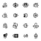 Bitcoin and Blockchain Crypto Protection Technology Icons. Modern computer network technology sign set. Digital graphic symbol collection. Bitcoin Payment and Stock Photo