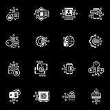 Bitcoin and Blockchain Crypto Protection Technology Icons. Modern computer network technology sign set. Digital graphic symbol collection. Bitcoin Payment and Royalty Free Stock Images