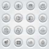 Bitcoin and Blockchain Crypto Technology Button Icons. Modern computer network technology sign set. Digital graphic symbol collection. Bitcoin Payment and Stock Photo