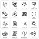 Bitcoin and Blockchain Cryptocurrency Icons. Royalty Free Stock Photo