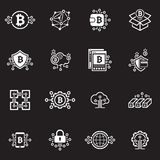 Bitcoin and Blockchain Cryptocurrency Icons. Blockchain Cryptocurrency Icons. Modern computer network technology sign set. Digital graphic symbol collection Stock Photos