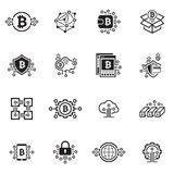 Bitcoin and Blockchain Cryptocurrency Icons. Blockchain Cryptocurrency Icons. Modern computer network technology sign set. Digital graphic symbol collection Royalty Free Stock Images