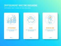 Bitcoin, blockchain, cryptocurrency investment flat design onboarding walkthrough splashscreen. Onboarding splashscreen payment app screens Modern and simplified Royalty Free Stock Photos