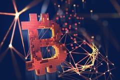 Bitcoin Blockchain 3D例证 开采的cryptocurrency的未来派概念 皇族释放例证