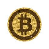 Bitcoin blockchain golden sign. Cryptocurrency. Digital money concept Royalty Free Stock Photos