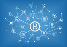 Bitcoin and blockchain  illustration background Stock Image