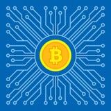 Bitcoin blockchain nowożytna technologia - kreatywnie wektorowa ilustracja Cryptocurrency pieniądze pojęcia cyfrowy symbol niebie ilustracja wektor