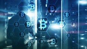 Bitcoin, Blockchain poj?cie na serweru pokoju tle fotografia stock