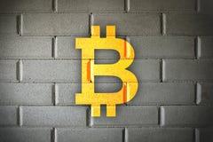 Bitcoin blockchain solid wall security stock photo
