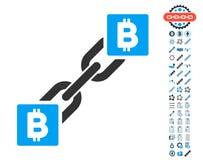 Bitcoin Blockchain symbol med bonussymboler Arkivbild