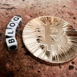 Bitcoin-Blogaufschrift Stockfoto