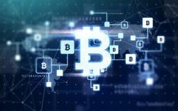 Bitcoin blokowego łańcuchu projekcja zdjęcie royalty free