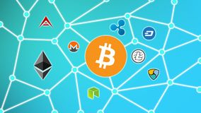 Bitcoin Blue Background, Cryptocurrency Blockchain Network. Cryptocurrency concept background show network of coins, various connectings through blockchain Stock Photo