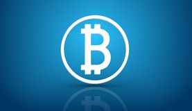 Bitcoin blue background Royalty Free Stock Photography